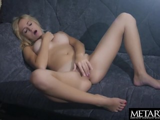 Voluptuous blonde beauty spreads and strokes her shaved pussy