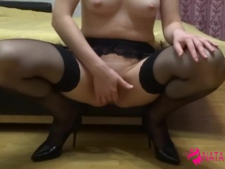 Amateur solo female masturbation with fingers and hard orgasm