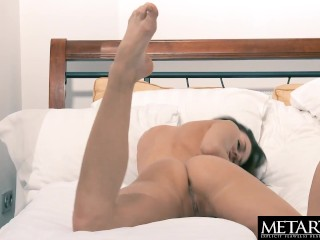 Stunning brunette goes face down ass up to stroke her hot pussy