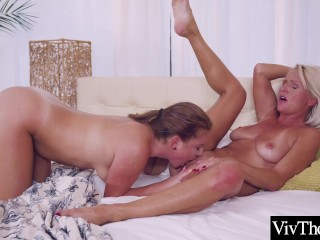 Cute masseuse daydreams about sexy blonde MILF licking her pussy and ass to orgasm