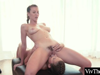 Busty beauty peels off gorgeous lovers tight yoga pants and eats her pussy