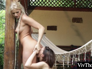 Beautiful lesbians pleasure each others wet pussies and tight assholes