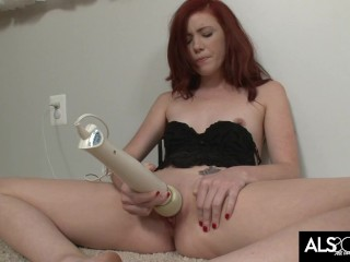 Tiny Tits Redhead Gets Herself Off with High Powered Hitachi