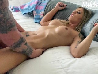 Blue Eyed GF with Tight Little Pussy Fucked in Ugly Christmas Sweater POV