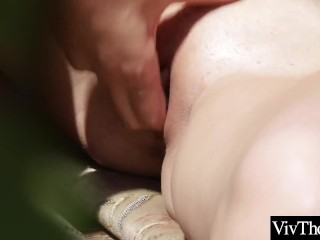Cute lesbian and busty lover strip naked and eat each other's hot pussy outdoors
