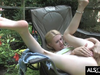 Kennedy Kressler Tends to Her Garden and Her Shaved Pussy