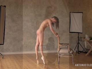 A nude ballerina and a classic chair – an erotic composition. Preview.