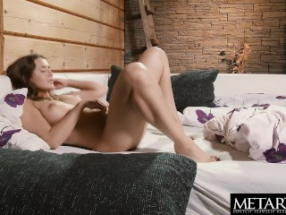 Beautiful brunette with big tits wakes up horny and masturbates