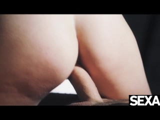 Cute girl in sexy lingerie rides cock to a hot creampie finish