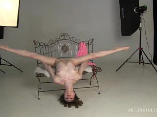 A gorgeous nude ballerina showed me her attractive flexibility in my studio. Preview.