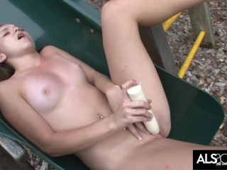 Pigtailed Teen Sadie Makes Her Own Fun on Playground