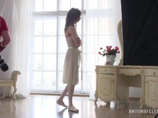 Adorable young flexible ballerina Annett A. dancing nude for my camcorder.