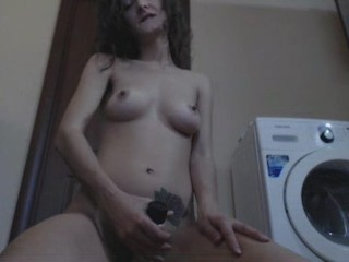 Cute hairy russian student have fun at home